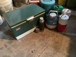 Nice Coleman cooler, padded bleacher seats, water coolers and vintage Thermos