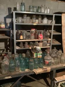 Blue jars, clear jars, milk jars, Graf Bros. IA City IA bottle , Mrs Butterworth, Hometown Dairy and more
