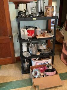 Angel food pans, pie dishes, rolling pins, cheese board with slicer, Hamilton Beach blender, knife block, coffee pots, toaster and so much more!!!!