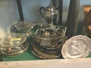 Silver tone items-casserole dishes, serving platters, vintage coffee urn