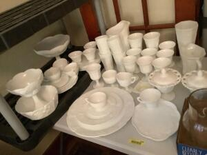 Milk glass-covered candy, snack set with 4 cups and trays, pitcher with goblets and glasses, plates, serving platters, footed comports and more