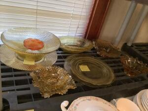 Yellow depression, Federal glass, amber glass and sherbet dish