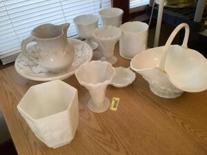 Milk glass-pitcher and basin, basket (handle has been repaired), comports See photos