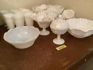 Milk glass-goblets, Punch bowl with 12 cups, candy dish with lid, serving bowls and crimped footed bowl