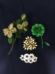 3 VIntage Pins and Beaded Flower Stem