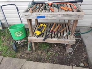 Potting station, yard tools, seeder