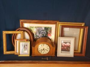 Mantle clock with framed artwork, and frames