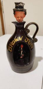 Rare Vintage 1960's Charlie Chaplin Brown Jug Musical Whiskey Decanter
