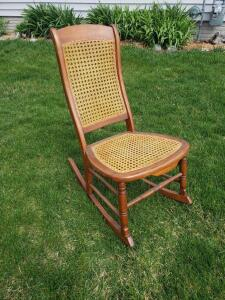 Beautiful vintage caned rocker
