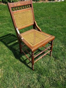 Gorgeous caned straight-backed chair