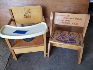 Child's convertible step stool, potty chair and holographic goldilocks picture