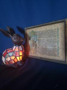 Tiffany style rabbit lamp and vintage photo