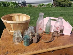 Coke bottles, milk bottles, misc door handles, lamp wall bracket