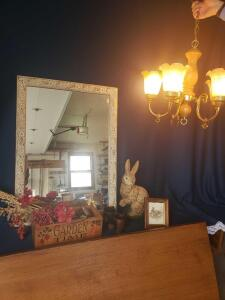 Pretty vintage hanging light, mirror and rabbit/garden theme