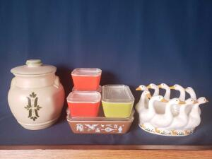 Royal Haeger USA lug handled stoneware, pyrex refrigerator dishes, funky duck centerpiece with many possibilities!