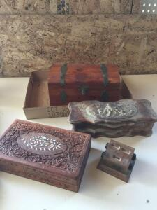 Wood and stone carved dresser boxes