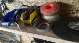 Grinding wheels, weedeater string, air gauge and miscellaneous