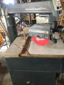 Sears Craftsman electronic radial arm saw with cabinet