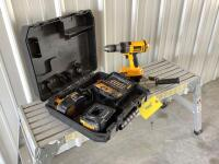 DeWalt 18 V heavy duty cordless drill/driver XRP Model DC987 with two batteries, charging station and drill bits