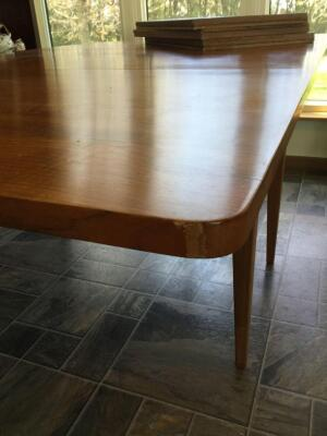 "Krause Furniture Amana dining room table and original table pads Table measures 48""L x 45""W x 30""H with two 24"" drop leaves"