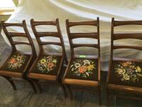 4 Amana chairs w needlepoint seats Also included are the original cane seat bottoms