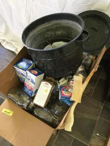 Granite ware canner and large quantity of canning jars and lids Jars appear to be quart size