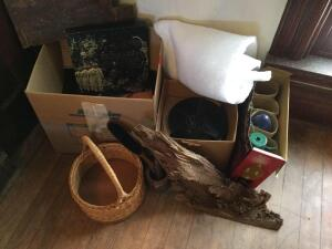 Record albums, baskets, brush and comb, outdoor Christmas bulbs and decorative wood chunk