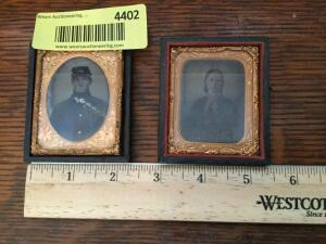 Two tintypes in frames-one is a soldier