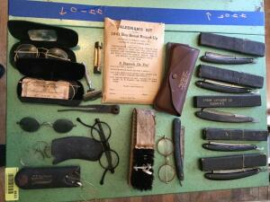 Quantity of straight razors, eyeglasses, shoe brush and Salesman's Kit for the 1941 Boy Scout round up