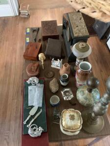 Dresser boxes, mantle clock,tall candlestick holder, vases, paperweights, old mailbox. See photos