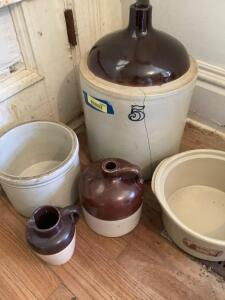 Brown top jug, pitcher, two crock bowls and a #5 brown top jug with large crack