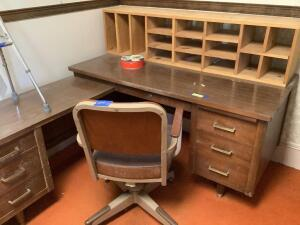 Corner desk with removable mail shelf, Lyon safe, rolling office chair and Guardian hemiwalker Safe measures 18 x 21 x 30