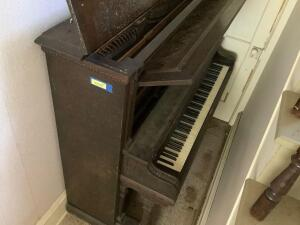 Piano Measures 60 x 27 x 56  If you can't play it, repurpose it!!!  And it's close to the door so should be easier to move!