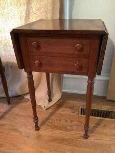 Amana side table with two drop leaves Measures 17 square x 29 high. Each drop leaf measures 8 1/2""