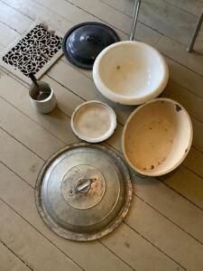 Vintage enamelware, dining chair and Howard Brothers Idaho Falls Idaho potato bag  *Floor vent not included-it just happens to be in the same spot we chose to photo this lot!*