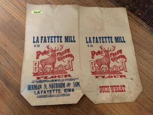 Pair of Lafayette Mill paper flour sacks