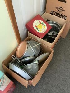 Kitchen items – pots, pans, baking sheets, grease screens muffin tin and vintage tins