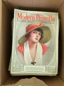 Box full of Modern Priscilla magazines 1920 and newer