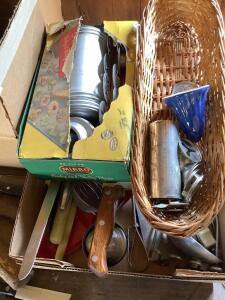 Showtime cutlery, flour sifter, large box of various pieces of silverware and cutlery, Mirro cookie and pastry press and box of other kitchen utensils
