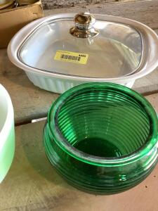 Crofton casserole dish with lid, Hamilton Beach mixing bowl, green glass bowl, glass canister, three-piece Crofton lidded storage set and Mikasa whole wheat pattern stoneware