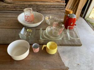 Glass baking dishes, Pyrex mixing bowls, Ice-O-Mat ice shaver, thermos jug, glass juice pitcher and basin
