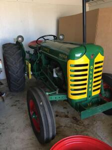 "1955 Oliver Super 55, restored, gas, major engine overhaul, new clutch, pressure plate & bearing, new gages, steering wheel, 26"" rims, running condition, 3 point, PTO, 2 extra correct 28"" rims.. sweet runner."