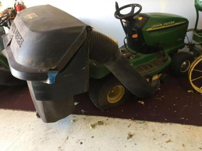 John Deere LT155 Twin Touch Automatic mower with bagger, running condition, 15HP OHV, new engine