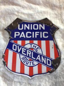 "Union Pacific railroad sign 9.5"" wide 10"" tall (porcelain)"