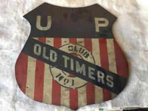 "Union Pacific Railroad Old Timers Club sign 15"" (wood)"