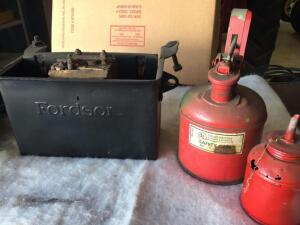 Fordson battery box, safety can, oil can