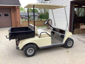 Club Car gas engine golf car with utility box Serial number AG 913-025-1960