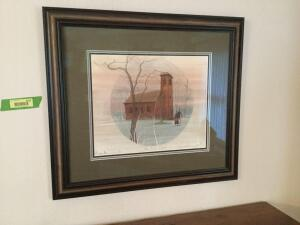 "Framed/signed/numbered P Buckley Moss ""Little Brown Church"" number 303 of 1000 Framed print measures 27 x 20, image measures 16 x 13"