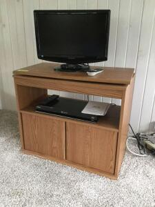 "Sharp 19"" TV with Sony Blu-ray disc player and TV cabinet with swivel top. Cabinet measures 28 x 14 x 24"