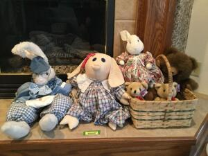 Stuffed babies and their basket